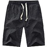GRMO Men Elastic Waist Stripe Print Summer Beach Swim Trunk Board Shorts