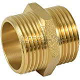 Agora-Tec® messing dubbele nippel 1 inch AG (33,3 mm) op 1 inch AG (33,3 mm) industriële kwaliteit