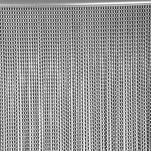 EBTOOLS Aluminium Tür Fenster Metall Vorhang 90 × 214,5 cm Aluminium Metallkette Streifen Vorhang Fliegen Schädlingsbekämpfung Dekoration Türschutz schwarz -
