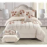 Winter Fur Comforter Set 6 Piece, King Size, Brown