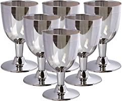 Rosymoment Hard Plastic Rim Wine Glass Set of 6 Pieces, Silver