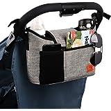 Sac de rangement pour poussette - Grande capacité de 11 l - Pour accessoires de bébé - Avec 2 porte-gobelets profonds et sang