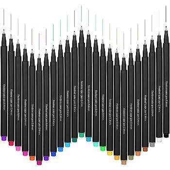 Set di 24pennarelli colorati a punta fine e porosa, da 0,4 mm, per libro da colorare, calendario, progetti artistici o decorazioni