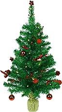 HAAC Led künstlicher Weihnachtsbaum Farbe grün 75 cm geschmückt mit 20er Leds und roten Baumkugeln Tannenzapfen