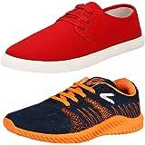 Earton Men's Stylish & Trendy Combo Canvas Sneakers (COMBO-1077+746_$p)