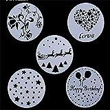 VAK Dekoschablonen aus Kunststoff für die Tortendekoration, 5 Stück, verschiedene Motive