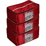 JaipurCrafts 3 Pcs Satin Fabric Saree Cover, 15 Sarees, Gift Set, Maroon (45 x 35 x 23 cm)