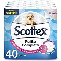 Scottex Carta Igienica Pulito Completo Salvaspazio, Confezione da 40 Rotoli - 2330 gr