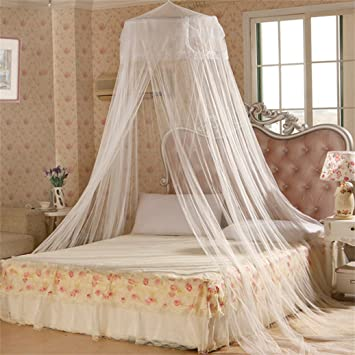 Elegent Princess Mesh Bed Netting Canopy Round Dome Hanging Mosquito Net Summer for Home Travel- White Amazon.co.uk Kitchen u0026 Home & Elegent Princess Mesh Bed Netting Canopy Round Dome Hanging ...