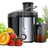 MLITER Entsafter für Obst und Gemüse Juicer mit 65mm Einfüllöffnung, 2 Geschwindigkeitsstufen, 450ml Saftbehälter and 1500ml Fruchtfleischbehälter Schwarz
