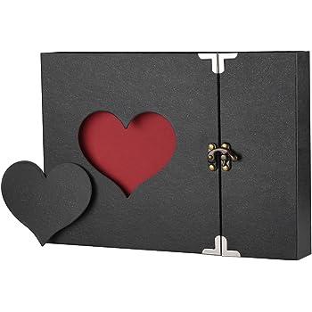 Firbon Fotoalbum zum Selbstgestalten Scrapbook Album Schwarze Seiten Fotobuch zum Einkleben Fotoalben Hochzeit, Weihnachts Valentinstag Geburtstag Jahrestag Geschenk