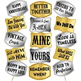 Party Propz Happy Anniversary Photo Booth Props Set - 44Pcs with Golden & Silver Anniversary Party Props for Photo - Happy An