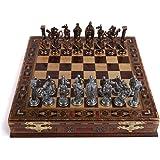 GiftHome Royal medeltida brittiska armén antik koppar schackset i metall för vuxna, handgjorda pjäser och schackbräde i natur