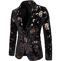 Mens Velvet Blazer Gold Rose Print Slim Fit Paisley Wedding Party Jacket Stylish Suit Jackets