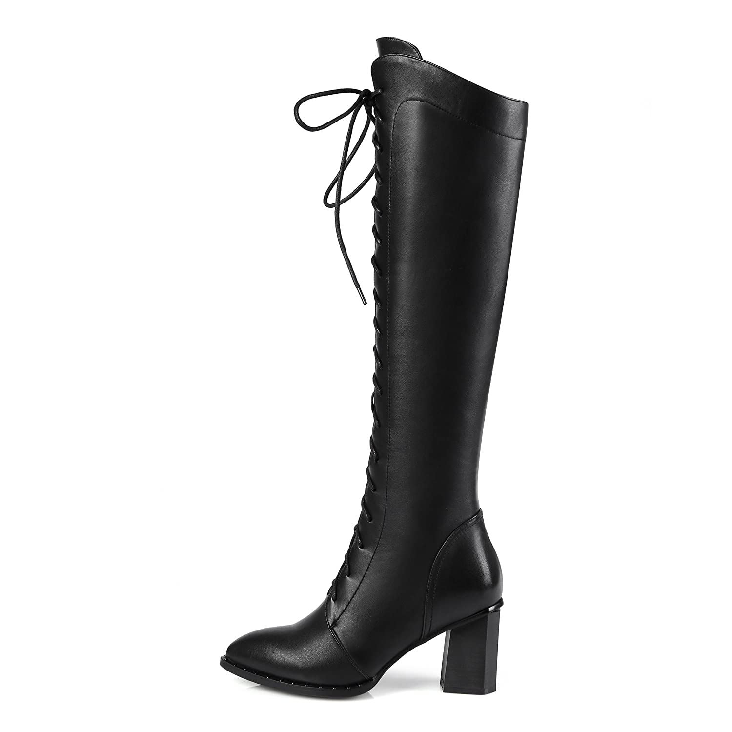 Ladies Zip Pointed toe Block heel Genuine leather Fashion Women boots  Fashion High heels Black Brown Knee-high Knight Boots: Amazon.co.uk: Shoes  & Bags