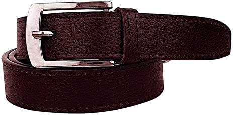 Krystle Men's PU Leather Belt (KRY-MEN-BRN-BELT, Brown, Free Size)