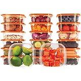 Ensemble de boîtes de Rangement Alimentaires avec couvercles Orange - À Usage Multiple - Lot de 20 récipients x 400 ML - Alim