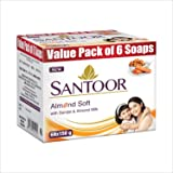 Santoor Sandalwood and Almond milk Organic Soft Bath Soap for Softer, Smoother and Moisturised Skin, Combo Offer 150 g pack o