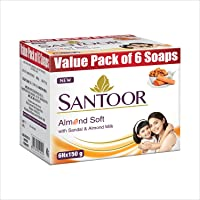 Santoor Sandalwood and Almond milk Organic Soft Bath Soap for Softer, Smoother and Moisturised Skin, Combo Offer 150 g…