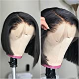 ANDRIA 12 Inch Short Bob Wigs Lace Front Wigs Natural Black Wigs Black Straight Bob Glueless Full Wigs For Black Women Synthe