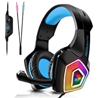 Tenswall PS4 gaming headset, Cuffie gaming per PC con mic a LED, jack stereo da 3,5 mm con cancellazione del rumore e…