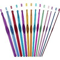 PROGARMENTS 14Pcs Aiguilles à Crochet Set, Crochet Hook Set Multicolore Poignée en Aluminium Tricot Outils pour…