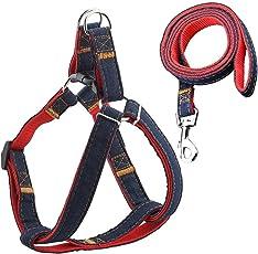 URPOWER Dog Leash Harness Adjustable & Durable Leash Set & Heavy Duty Denim Dog Leash Collar for Small Dog, Perfect for Daily Training Walking Running