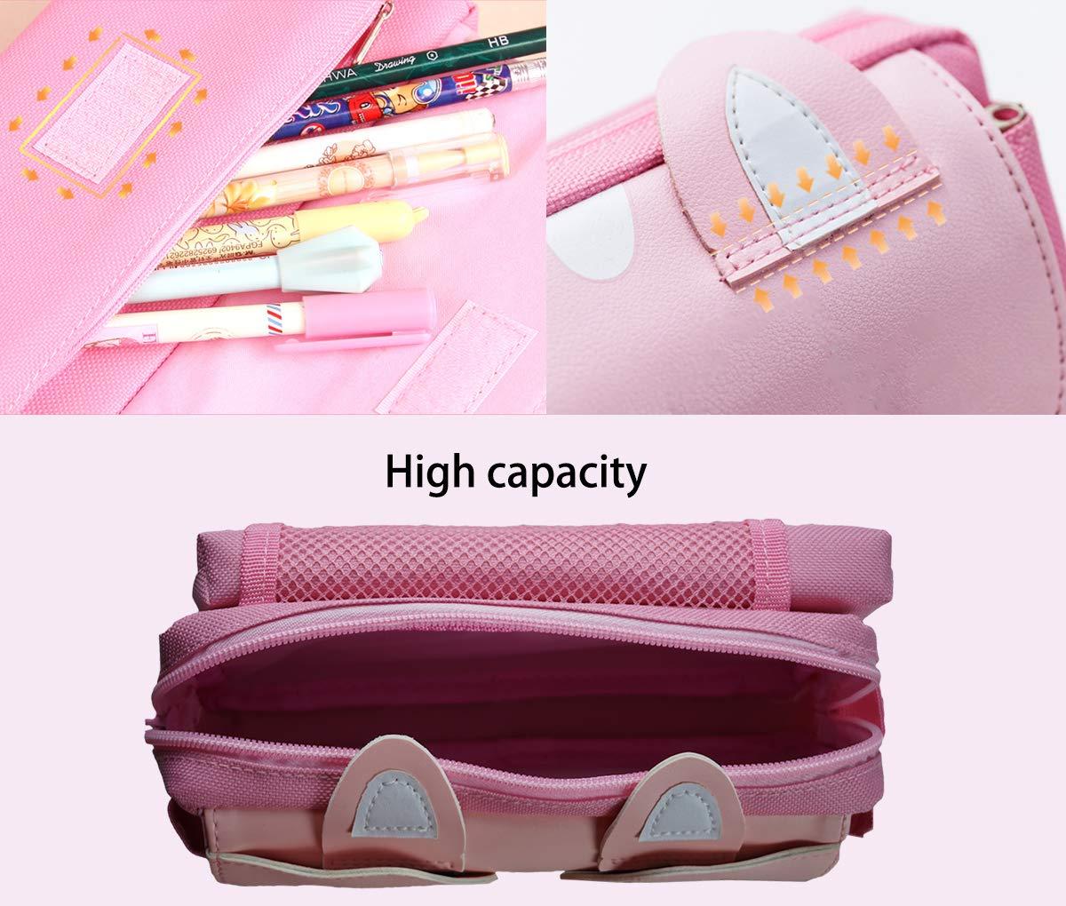 Estuche de lápices, bolsa de lápices de gran capacidad linda, bolsa de almacenamiento de artículos de papelería, bolsa de cosméticos para la escuela secundaria de la oficina del estudiante, rosa