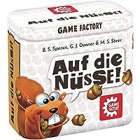 Game Factory 646273 Auf die Nüsse, das knackige Würfelspiel, Mini-Spiel in handlicher Metalldose, Reisespiel, für…