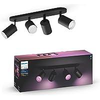 Philips Hue White & Color Ambiance Spot Fugato x4 Noir Compatible Bluetooth, Fonctionne avec Alexa
