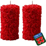 Shraddha Creation Rose Pillar Wax Scented Decorative Candle, Pack of 2, Rose