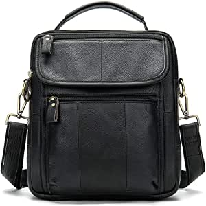 KUVV Durable Fashion Mens Shoulder Bag Top Layer Leather Casual Business Handbag Crazy Horse Leather Retro Mens Bag Briefcase Europe and America Mens Bag Flip Mens Bag Color : Black