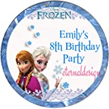 Eternal Design Personalised Glossy Kids Birthday Party White Stickers Anna /& Elsa from Frozen KBCS 45