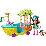 Enchantimals, Tropikalna Łódka Zestaw Do Zabawy + Lalka Merit Monkey (15 Cm) I Figurka Małpki Compass + 7 Akcesoriów GFN58