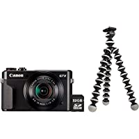 Canon PowerShot G7X Mark II Kamera Vlogging Kit inkl. JOBY GorillaPod Stativ + 32 GB SD Karte (20,1 MP, klappbares 3…