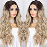 K'ryssma Ombre Blonde Lace Front Wig with Dark Roots Long Wavy Ombre Synthetic Wig Glueless Heat Resistant Wigs for Women