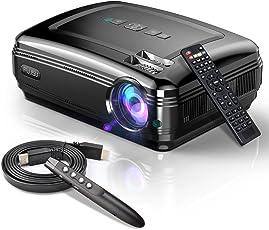"""Video Beamer,FUJSU 3300LM Full HD 5.8"""" LCD Video Projektoren 1080P HDMI USB VGA SD Card AV für Office Powerpoint Präsentationen Heimkino Unterstützt mit Powerpoint Fernbedienung"""