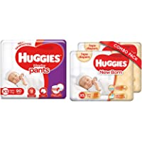 Huggies Wonder Pants, Extra Small (XS) Size Diapers, 90 Count & Huggies Taped Diapers, New Born (XS) Size, Combo Pack of…