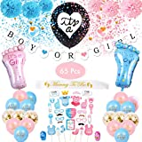 Amycute 65 Pezzi Gender Reveal Party Supplies Baby Shower Decorazioni, Boy or Girl Bandierine, Baby Reveal Palloncini, Pallon