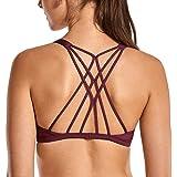 DPJ - Reggiseno da donna a doppia croce senza ferretto, inserto in marrone, per yoga e sport