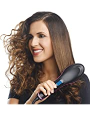 STOP 'N' BUY Women's Electric Comb Brush Nano Straightening LCD Screen with Temperature Control Display hair straightener for women, hair straighteners comb brush (comb black)