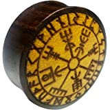 Chic-Net Flesh Plug Vegvisir Runen cerchio in legno di Sono, raddoppiato dilatatore dilatatore dilatatore | lobe piercing da