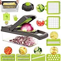 FUKTSYSM Mandoline Trancheuse - 13 en 1 Coupe-Légumes Multi-Fonction Trancheuse, Découpe Les Fruits et Les légumes…