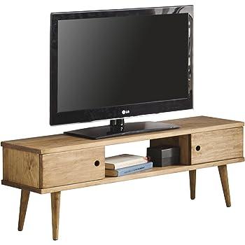 Hogar24 Meuble TV, salon Design vintage 2 portes et étagère en bois massif  naturel Fabrication artisanale 110 x 40 x 30 cm. fe8da7570fcf
