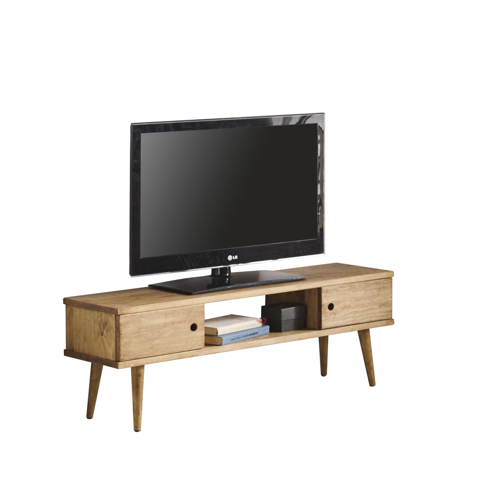 Hogar24 Meuble Tv Salon Design Vintage 2 Portes Et Etagere En Bois Massif Naturel Fabrication Artisanale 110 X 40 X 30 Cm Deco Royale