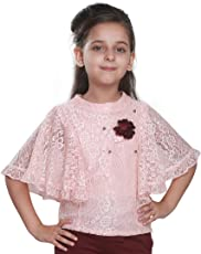Cutecumber Girls Lace Fabric Embellished Peach Top. CC1221A-PEACH