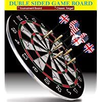 Famous Quality Metal Dart board with needles, Multicolour, 1 Board, 6 Needles