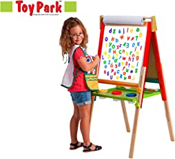Toy Park Kid's Height Adjustable Wooden Easel Board for Drawing,Painting White-Board (3.5 ft,Multicolour)