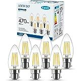 ANWIO 4.5W Ampoule Filament Bougie Bayonnate B22, 470lumens Equivalente à Ampoule Halogène Vintage 40W, Blanc Chaud 2700K, No