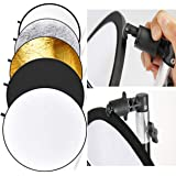 """VTS 42"""" 5-in-1 Photography Collapsible Light Disc Reflector, 5 Colors White/Black/Silver/Gold/Translucent with Reflector Disc"""